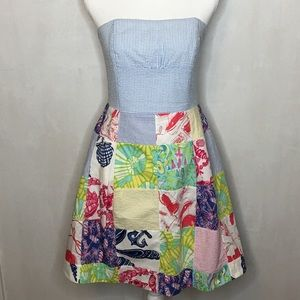 Lilly Pulitzer Patchwork Strapless Dress - Size 6